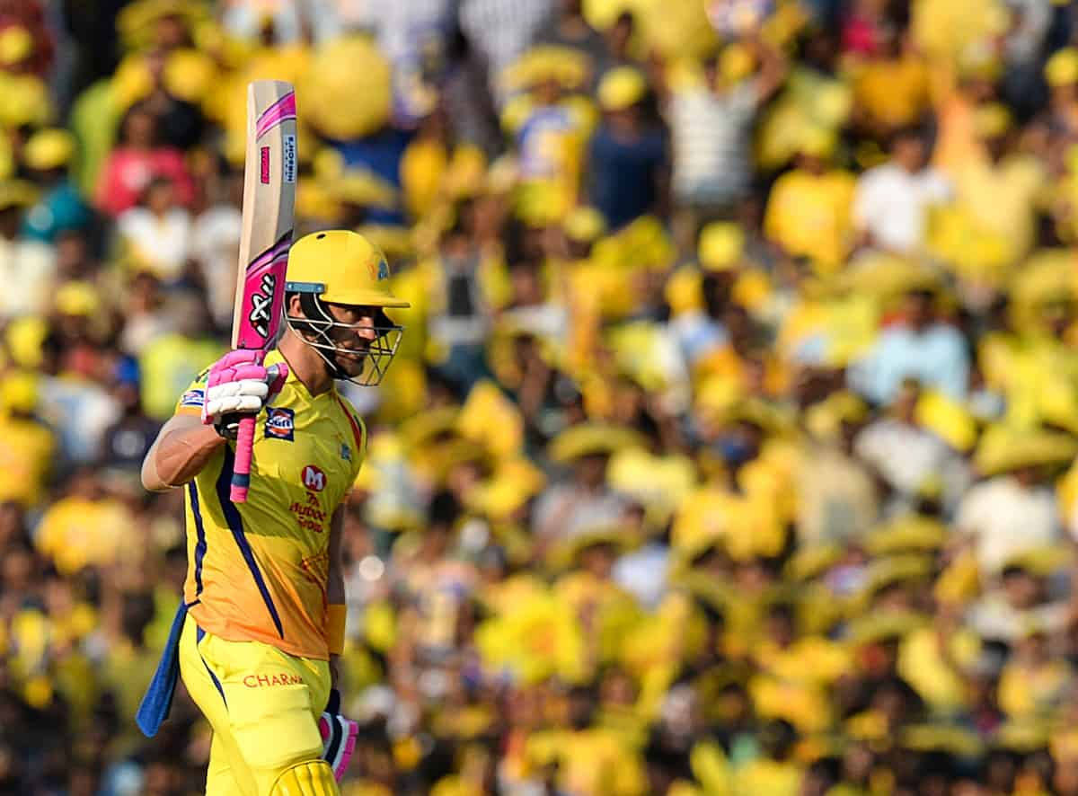 Chennai Super Kings cricketer Faf Du Plessis celebrates after scoring a fifty during the 2019 Indian Premier League (IPL) Twenty20 cricket match between Chennai Super Kings and Kings XI Punjab at the M.A. Chidambaram Stadium in Chennai on April 06, 2019. (Photo by ARUN SANKAR/ AFP)